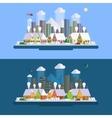 Flat design winter urban landscape vector image vector image