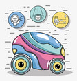 futuristic car with modern elements icons vector image vector image
