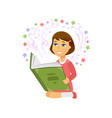 girl reading - cartoon people character isolated vector image