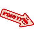 graph profit down icon on white background vector image vector image