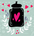Hand drawn with a jar and hearts and decoration vector image