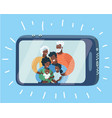 happy family taking self portrait with smartphone vector image