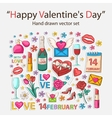 Happy Valentines day scrap set vector image vector image