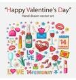 happy valentines day scrap set vector image vector image
