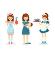 housewife woman removes dust feeds child vector image vector image