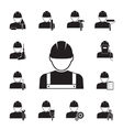 Icons of workmen coupled with different tools vector image vector image