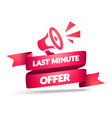 last minute offer label flag with megaphone vector image vector image
