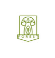 line art crest with simple mushroom vector image