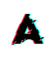 logo letter a glitch distortion diagonal vector image vector image