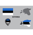 Map of Estonia and symbol vector image