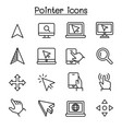 pointer cursor icon set in thin line style vector image vector image