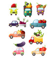 set colorful toy cars with fresh vegetables and vector image
