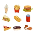 set fast food icons vector image vector image