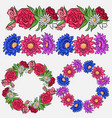 set of coloring flower brushes and frames vector image vector image