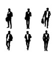 six silhouettes of young men vector image vector image