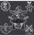 skull in a Mexican sombrero with chili vector image