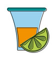 tequila shot with lime mexican culture related vector image