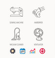 ventilator sewing machine and hairdryer icons vector image vector image