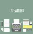 workplace typewriter top view vector image vector image