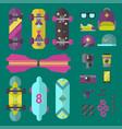 skateboard icons set vector image