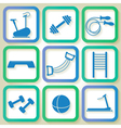 Set of 9 blue icons of the fintess club equipment vector image