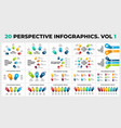 3d perspective infographics pack 20 vector image