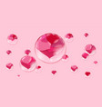 a lot of red hearts inside bubbles on a pink vector image vector image