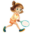 a tennis girl character vector image vector image