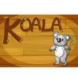 A wooden frame with a koala vector image vector image