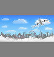 airplane flying around world vector image vector image