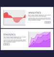 analytics and statistics web informative posters vector image vector image