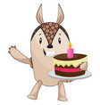 armadillo holding cake on white background vector image vector image