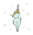 Childish deer eating snowflakes cartoon sketch