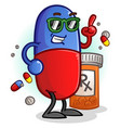 chill pill cartoon character vector image