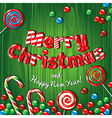 Christmas card poster banner with candies on a vector image vector image
