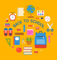 circle school bag icon and school supplies poster vector image vector image