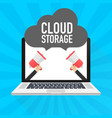 concepts cloud storage laptop on blue background vector image