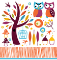 Cute autumn owls and design elements vector image vector image