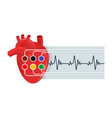 electrocardiography icon with human heart vector image vector image