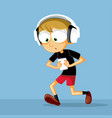 funny boy with headphone checking his smartphone v vector image