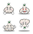 garlic cartoon character set collection vector image vector image