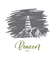 Hand drawn beacon lighting at night lettering vector image vector image
