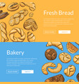 hand drawn colored bakery elements web vector image vector image