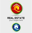 House home logo round icon vector image vector image