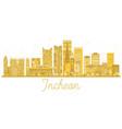 incheon city skyline golden silhouette vector image vector image