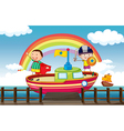 Kids playing in the ship vector image