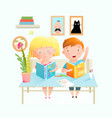 kids reading and studying books sitting at desk vector image