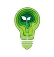 light bulb icon with green abstract paper art vector image vector image
