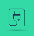 linear icon of electric socket with wire vector image vector image