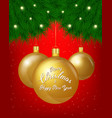 merry christmas greeting card of golden vector image vector image